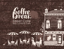 Urban landscape with street cafes and love couple. On the background of manuscript with blots. Banner for street cafe with old building and inscription coffee Royalty Free Stock Photography