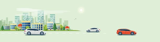 Urban Landscape Street Road with Cars and City Building Skyline Royalty Free Stock Images