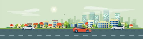 Urban Landscape Street Road with Cars and City Skyline Backgroun. Flat vector cartoon style illustration of urban landscape road with cars, skyline city office Stock Photos