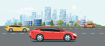 Urban Landscape Street Road with Cars and City Skyline Background Royalty Free Stock Images