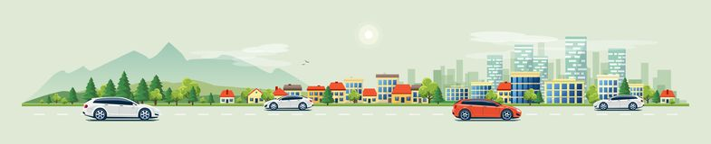 Urban Landscape Street Road with Cars and Mountain City Skyline. Flat vector cartoon style illustration of urban landscape road with cars, skyline city office royalty free illustration