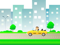 Urban landscape with taxi and happy man Royalty Free Stock Photo