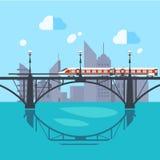 Urban Landscape and Train on Railway Stock Photos