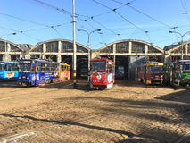 Urban landscape - the Tram depot in Lviv Royalty Free Stock Images