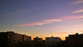 Urban landscape at twilight, with time lapse. Colorful sky over Stock Photos