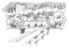 Urban landscape. Urban view. Modern sity with high-rise buildings, parks, railroad bridge and railway. Ink sketch. Black and white illustration Royalty Free Stock Images