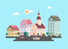 Urban Landscape. Vector Flat Design City. With Buildings. Woman with Pram and Fountain on Town Square vector illustration