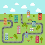 Urban landscape. Vector illustration of community. Stock Photo