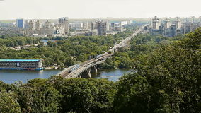Urban landscape. View of the Dnieper in Kiev stock footage