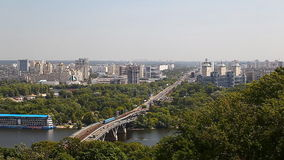 Urban landscape. View of the Dnieper in Kiev stock video footage