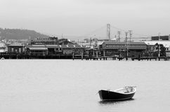 Urban landscape view of Fisherman Wharf and San Francisco Bay Br Stock Images