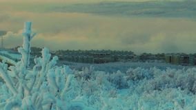 Urban landscape - view of the frosty city with the mountain. View of the winter city with the nearest mountain - houses and smoking high pipes in a dark, cold stock footage