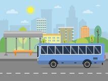 Free Urban Landscape With Illustration Of Public Bus Station Royalty Free Stock Image - 117637756
