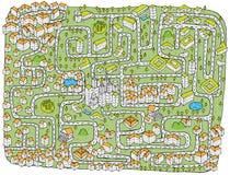 Urban landskap Mazeleken vektor illustrationer
