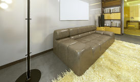 Urban leather sofa, brown color. Urban leather sofa, brown color, modern living room with floor lamp. 3D render Stock Image