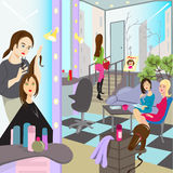 Urban life. Hairdresser is making a haircut stock illustration