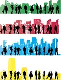 Urban life. Collection of city people in urban backgrounds Stock Photo