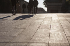 Urban life concept, people shadows on streets Stock Photo