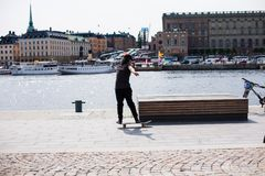 Urban life. Cool skateboarder outdoors Stock Photo