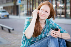 Urban Life Moment - Listening to Music Royalty Free Stock Photo