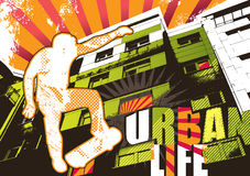 Urban life poster with skateboarder royalty free illustration