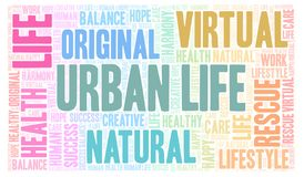 Urban Life word cloud. Wordcloud made with text only stock illustration