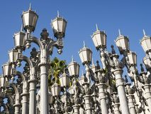 Urban Light by Chris Burden at the LACMA - Los Angeles County Museum of Art, big rock, on the August 12th, 2017 - Los Angeles, CA. USA Royalty Free Stock Image