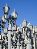 Urban Light by Chris Burden at the LACMA - Los Angeles County Museum of Art, big rock, on the August 12th, 2017 - Los Angeles, CA. USA Royalty Free Stock Photos