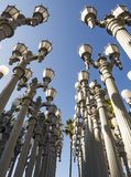 Urban Light by Chris Burden at the LACMA - Los Angeles County Museum of Art, big rock, on the August 12th, 2017 - Los Angeles, CA. USA Royalty Free Stock Photography