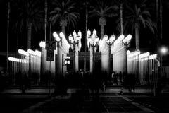 Urban Light night black and white Royalty Free Stock Photo