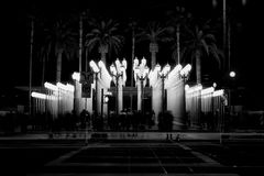 Urban Light night black and white Royalty Free Stock Photos
