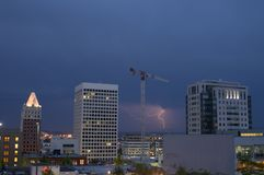 Urban lightning strike Downtown Tacoma Washington Royalty Free Stock Photos