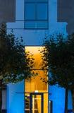 Urban lights: illuminated entrance, Frankfurt, Germany Stock Image