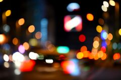 Urban Lights at Night, Madrid, Spain. Defocused urban environment with traffic and city lights Royalty Free Stock Photography