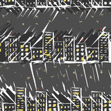 Urban line landscape ink imitation hand drawn colored seamless pattern Royalty Free Stock Photo