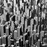 Urban lines graphic. 3D illustration of black and white city graphic Stock Photo