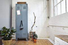 Urban loft vintage atmosphere with metal locker and plants Stock Image