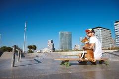Free Urban Longboarding In Concrete Skatepark Royalty Free Stock Image - 76841506