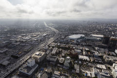 Urban Los Angeles Aerial with Afternoon Clouds Royalty Free Stock Photos