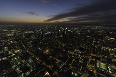 Urban Los Angeles California Night Aerial View Royalty Free Stock Photography
