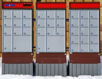 Urban Mail Boxes. Modern mailboxes in a residental area stock photo
