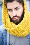 Urban man with beard and scarf Royalty Free Stock Image