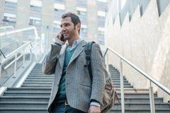 Urban man calling on the phone Royalty Free Stock Photos