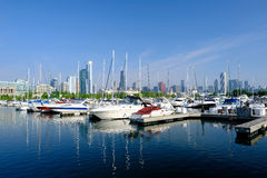 Urban marina and Chicago skyline Stock Images