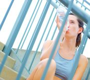 Urban Mature Woman Exercising Stock Image
