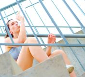 Urban Mature Woman Exercising Royalty Free Stock Images