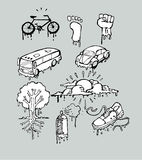 Urban melting drawings. Hand drawn vector illustrations or drawings of some urban melting things stock illustration