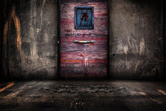 Urban Metal Walls and Wooden Door interior Stage Royalty Free Stock Image