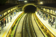 Urban metro station with departing train. The Athens Metro is a rapid-transit system Stock Images