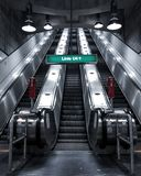 Urban metro station stairs,. Brutal dark architecture stock images